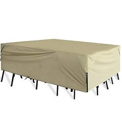Leader Accessories 600D PVC Tough Canvas 100% Waterproof Rectangular/Oval Patio Table & Chai ...