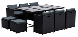 MCombo Aluminum Outdoor Wicker Rattan Dining Table(42 Inchx65 Inchx29Inch) Chairs Set Space Savi ...