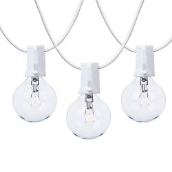 NIOSTA 100ft White Wire G40 Outdoor String Lights,Patio Lights Strand with Globe Clear Bulbs,UL  ...