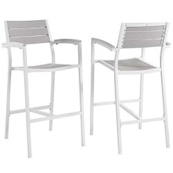 Pemberly Row 29″ Patio Bar Stool in White and Light Gray (Set of 2)