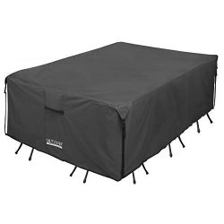 ULTCOVER 600D PVC Durable Rectangular Patio Table with Chair Cover – Waterproof Outdoor Fu ...