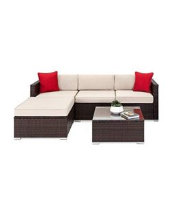 OAKVILLE FURNITURE 61105 5-Piece Outdoor Patio Furniture Rattan Sectional Sofa Conversation Set  ...