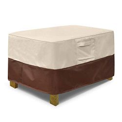 Vailge Rectangle Patio Ottoman Cover, Waterproof Outdoor Ottoman Cover with Padded Handles, Pati ...