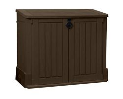 Keter Store-It-Out Woodland Resin Outdoor Storage Shed 27 Cubic Foot Capacity, Brown