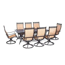 Hanover MANDN9PCSWSQ-8 Manor 9 Piece Dining Set with Large Square Table and Eight Swivel Rockers ...