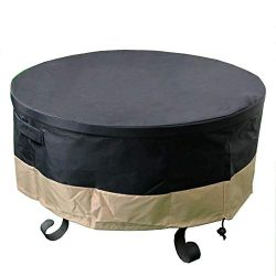 ProHome Direct 60 Inch Heavy Duty Waterproof Round Fire Pit/Table Cover, Weather Resistant Mater ...