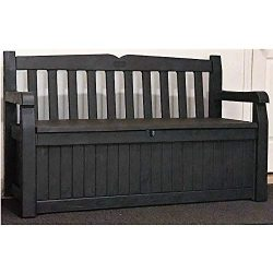 70 Gallon Deck Box Brown Resin Patio Loveseat Slatback Storage Bench Front Porch Lidded Seat Arm ...