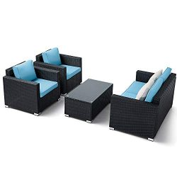 Oakmont Outdoor Patio Furniture 4-Piece Conversation Set All Weather Wicker with Sky Blue Cushio ...