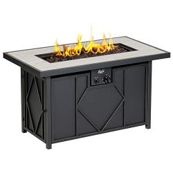 BALI OUTDOORS 42 inch 60,000 BTU Propane Gas Fire Pit, Outdoor Patio Rectangular Fire Pits Table ...