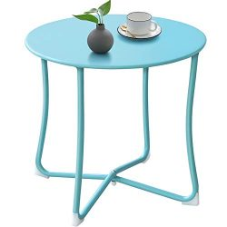 Outdoor Side Tables for Patio End Table Weather Resistant Small Round Coffee Table Steel Port Ta ...