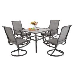 PHI VILLA Patio Dinning Set 5 PCs Outdoor Dinning Table Set Outdoor Kitchen Garden Furniture wit ...
