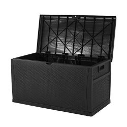 Superday Patio Deck Box Outdoor Storage Decorative Wicker Pattern Garden Furniture Rattan Contai ...