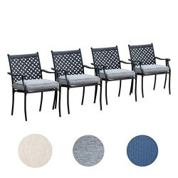 Top Space 4 Piece Metal Outdoor Wrought Iron Patio Furniture,Dinning Chairs Set with Arms and Se ...