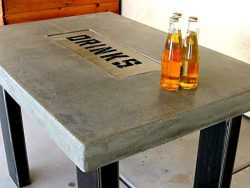 Concrete Countertop Table With Drink Tray