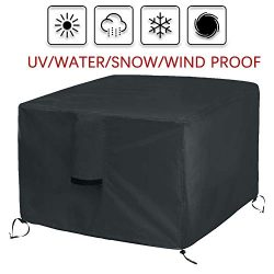 Onlyme Fire Pit Cover Square – Waterproof Heavy Duty Patio Firepit Table Cover Durable Out ...