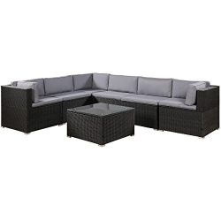 romatlink 7 Pieces Outdoor Rattan Patio Furniture Set, Modern Wicker Conversation Sectional Sofa ...