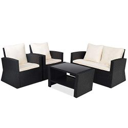 Tangkula Patio Furniture Set 4 Piece, Outdoor Wicker Conversation Set for Courtyard Balcony Gard ...