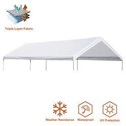 Eurmax 10 x 20 Feet Heavy Duty Carport Replacement Top Car Canopy Cover for Garage Shelter (White)