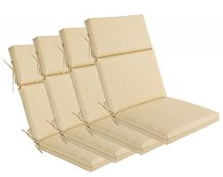 BOSSIMA Indoor Outdoor High Back Chair Cushions Replacement Patio Chair Seat Cushions Set of 4 Beige