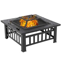 Yaheetech 32in Outdoor Fire Pit Metal Square Firepit Wood Burning Backyard Patio Garden Beaches  ...