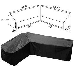 FLYMEI V Shaped Patio Sofa Cover, Outdoor Sectional Furniture Cover, Waterproof Garden Couch Cov ...