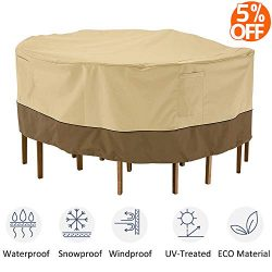 kdgarden Outdoor Round Patio Table and 6 Chairs Set Cover, Heavy Duty Waterproof 600D Large Furn ...