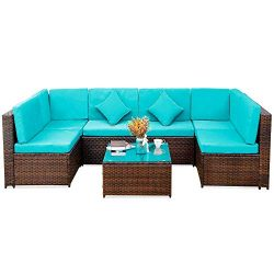 Romatlink, 7 Pieces Outdoor Rattan Patio Furniture Set, Modern Wicker Conversation Sectional Sof ...
