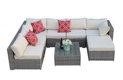 Do4U Patio Sofa 8-Piece Set Outdoor Furniture Sectional All-Weather Wicker Rattan Sofa Brown Sea ...