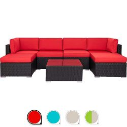 Walsunny 7pcs Patio Outdoor Furniture Sets (Red)
