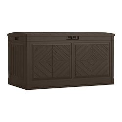 Suncast Baywood 80-Gallon Large Deck Box – Lightweight Resin Outdoor Storage Deck Box for  ...