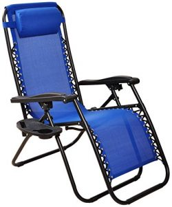 BalanceFrom Adjustable Zero Gravity Lounge Chair Recliners for Patio, Blue, Blue