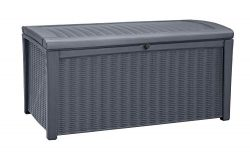 Keter Borneo 110 Gallon Resin Outdoor Storage Bench and Deck Box for Patio Furniture, Anthracite