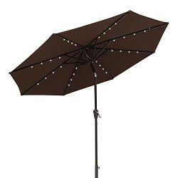 COBANA 9 Ft Deluxe Tilting Solar Powered 32 LED Lighted Aluminum Patio Table Umbrella, 100% Poly ...