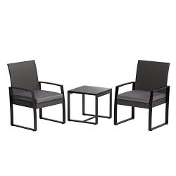 AmazonBasics 3-Piece PE Rattan Wicker Outdoor Patio Set