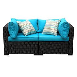 Outdoor PE Wicker Chairs-2 Piece Patio Black Rattan Garden Conversation Corner Chair End Seat Fu ...