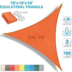 PATIO Paradise 16′ x 16′ x 16′ Orange Sun Shade Sail Triangle Canopy, 180 GSM  ...