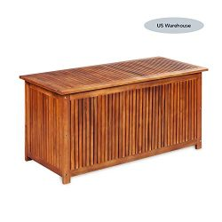 Deck Storage Box Acacia Wood, Outdoor Storage Bench Garden Deck Box Waterproof Storage Container ...