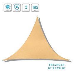 Lehood Triangle Sun Shade 12′ x 12'x 12′- Patio Fabric shelter for Outdoor Act ...