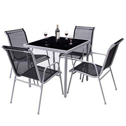 Giantex Dining Table Set Bistro Set with 1 Table and 4 Chairs Indoor Outdoor Garden Patio Dining ...