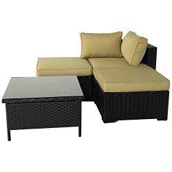 VALITA Patio PE Wicker Furniture Set 4 Pieces Outdoor Black Rattan Sectional Conversation Sofa C ...