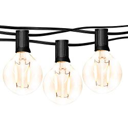 hykolity 50FT LED Outdoor Globe String Lights with 25 Hanging Sockets, Dimmable 27x1W Vintage Ed ...