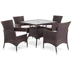OAKVILLE FURNITURE 61205 5-Piece Patio Set Square Glass Top Dining Table with Standard Umbrella  ...