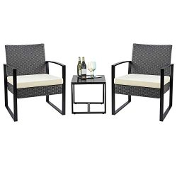 Flamaker 3 Pieces Patio Set Outdoor Bistro Set Wicker Patio Furniture Sets Modern Rattan Chair C ...