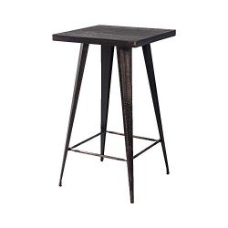 Romatlink Patio Bar Table for Indoor and Outdoor bar Table 23.6Inch Retro Style Square Desktop M ...