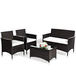 Goplus 4-Piece Rattan Patio Set, Outdoor/Indoor Wicker Conversation Set for Pool, Backyard, Lawn ...