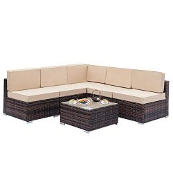 Minelody Rattan Sofa Set, Rattan Wicker Sofa Sectional Furniture Conversation Set with a Coffee  ...