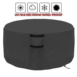 Onlyme Fire Pit Cover Round – Waterproof Heavy Duty Patio Firepit Table Bowl Cover Durable ...