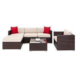 OAKVILLE FURNITURE 61106 6-Piece Outdoor Patio Furniture Rattan Sectional Sofa Conversation Set  ...