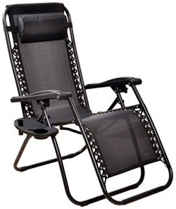 BalanceFrom Adjustable Zero Gravity Lounge Chair Recliners for Patio, Black, Black