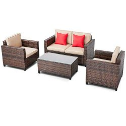 SUNCROWN Outdoor Patio Furniture 4-Piece Conversation Set All-Weather Wicker, Thick, Durable Cus ...